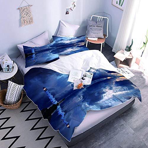 Juego de sábanas doble: tela de microfibra transpirable ultra suave, azul océano edificio, ropa de cama de 3 piezas para habitación de invitados, habitación de los niños