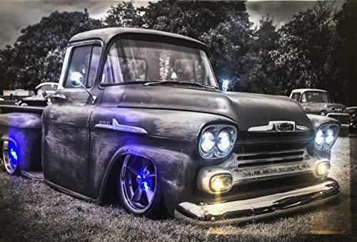 Samarkand - Lights LED-Bild mit Beleuchtung LED- Bilder Leinwandbild 65 x 45 cm Leuchtbild US CAR/Oldtimer/Pickup Wandbild