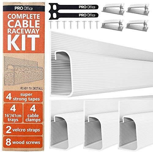 J Channel Kabelgoot Kit - Computer Bureau Systeem voor Kabelmanagement – Set van 4x 41cm Wit Kabelgeleiders voor Onder Tafel op Kantoor en Thuis
