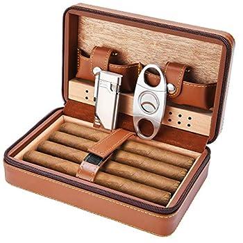 Cigar Case Travel - SEEJI Cigar Humidor Box - Portable Leather Humidor Humidifier Cigar Cutter and Lighter Set  Brown