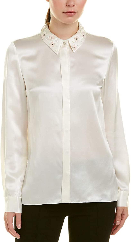 Elie Tahari Womens Silk Embellished Collar ButtonDown Top