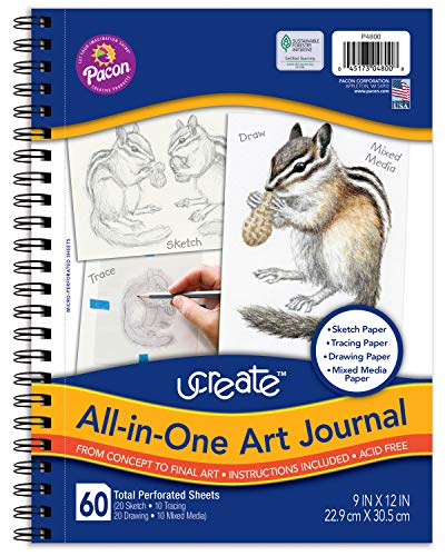 Pacon UCreate All-in-One Art Journal, 12' x 9', White 60 Sheets