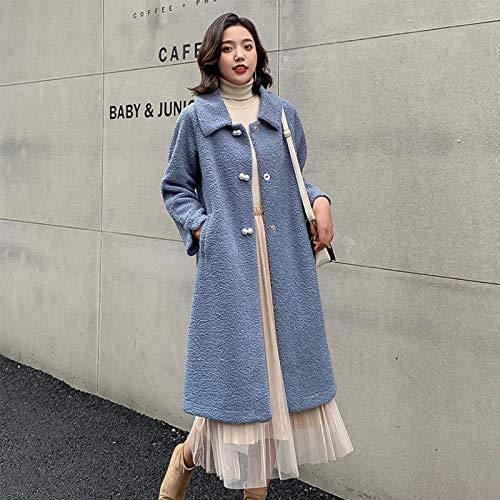 zzschs Manteau Jacket Trench Femme Veste d'hiver Mid-Long Blouson à Capuche Femme Duffle Laine Coat Décontractée Chaud en Drap Outwear-Bleu_XL