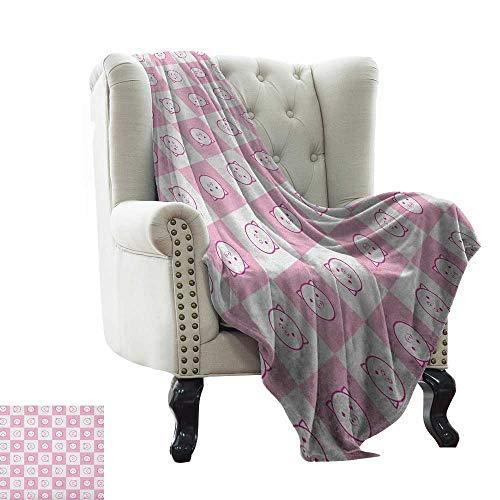 BelleAckerman - Manta para bebé a Cuadros, diseño de Cuadros Rojos, Rosa y Naranja, con líneas Blancas, Color Naranja Oscuro, Tela Suave Reversible para sofá de fácil Cuidado