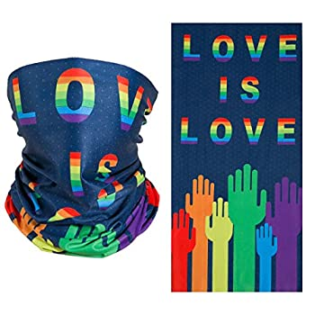 2 Pcs Gay Pride Sun Protection Cool Face Mask,Milk Silk Fabric Love is Love Mask UV Dust Wind Protection Face Neck Gaiter Headwear for Motorcycle Hiking Cycling Ski Snowboard Running Workout