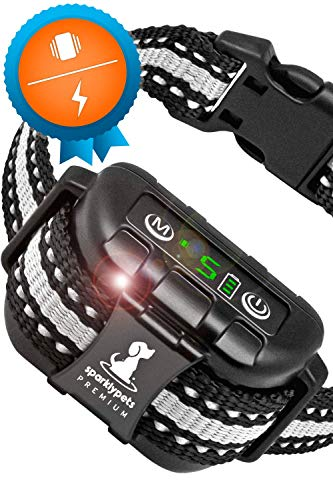 Smart Rechargeable Bark Collar Large Dog Shock – Anti Barking Collar for Dogs with Beep Vibration, No Harm Shock, 5 Sensitivity Levels – Adjustable for Large, Medium or Small Dogs – Anti Bark Collar