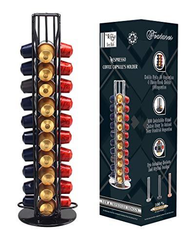 Ever Rich ® Tower Kapselhalter für 40 Kaffeekapseln, drehbares Design für Nespresso Cooff Pods (Z-Tower 40 schwarz)