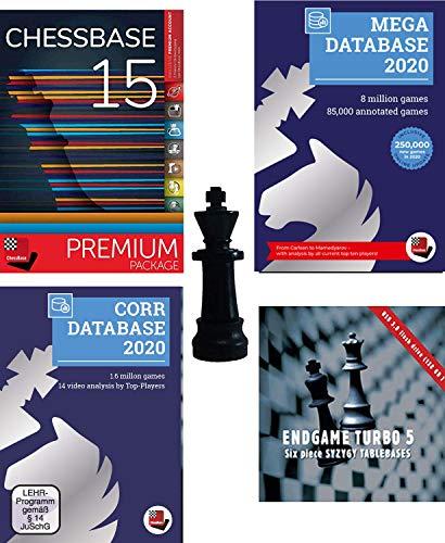 ChessBase 15 – Premium-Paket – ChessBase 15 Chess Database Management Software Programm Bundle mit Mega Database 2019, Endgame Turbo 5, Corr 2018 & ChessCentral's Chess King Flash-Laufwerk