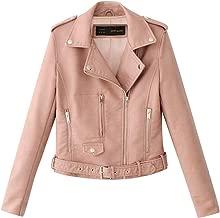 Kulywon Women Ladies Lapel Motor Jacket Coat Zip Biker Short Punk Cropped Tops