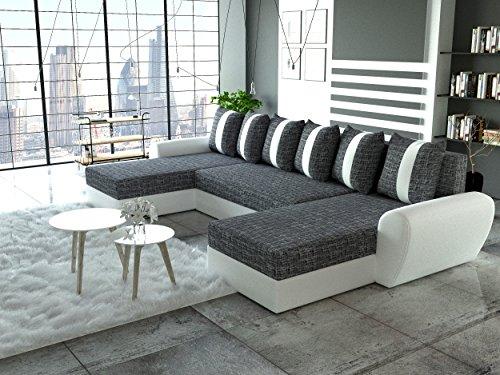 Wohnideebilder Sofa Couchgarnitur Puma mit Schlaffunktion und Bettkasten im modernem Design, abgesetzte Nähte, präzise verarbeitet.
