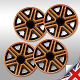 4x Radblenden 14 Zoll schwarz orange Action NRM, Radkappen 4er Set schwarz 14'