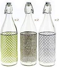 Cerve Set 6 Pezzi Bottiglia Minimal da 1 litro Elegante con Tappo Meccanico ermetico per Acqua Olio Bevande Preparazione e...
