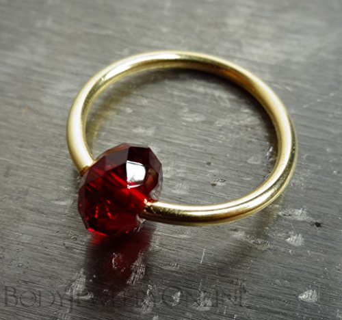 "Captive Bead Ring Made with RUBY RED Swarovski Crystal - 14 Gauge CUSTOMIZABLE 14k Gold or Sterling Silver - Navel Belly Septum Eyebrow Lip Hoop 1/4"", 5/16"", 3/8"", 7/16"", 1/2"", 9/16"" etc. CBR"