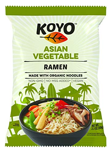 Koyo Ramen Soup, Asian Vegetable, Made With Organic Noodles, No MSG, No Preservatives, Vegan, 2.1 Ounces Per Package
