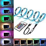 LED TV retroilluminazione USB, Striscia LED 2M RGB Strisce LED con telecomando a 24 tasti 16 colori 4 modalità, TV retroilluminata per TV HD da 40-60 pollici, schermo TV, PC, Luce d'effetto
