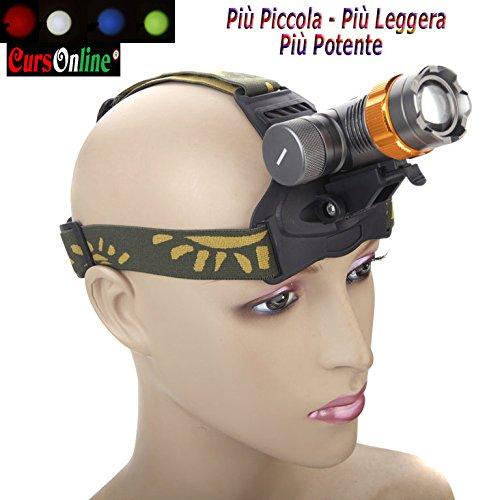 CursOnline® Linterna frontal profesional BL-6836 de gran calidad, recargable con zoom mecánico...
