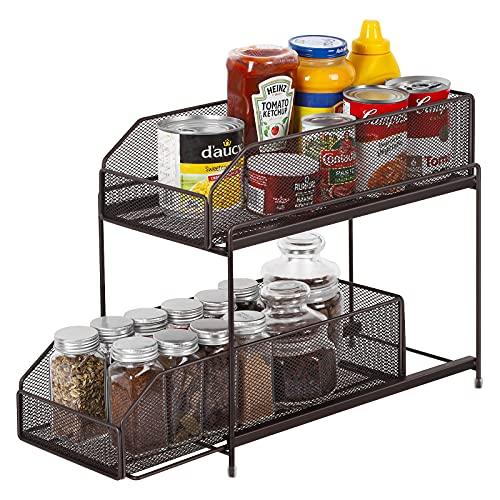 LIANTRAL Estantería de cocina de 2 pisos, cajón deslizante, organizador de almacenamiento, estante para cocina, armario, encimera