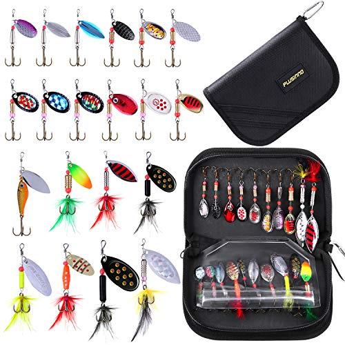PLUSINNO esche da pesca per basso 16pcs spinner esche con borsa portatile per il trasporto, esche per spigoli, trota, esche in metallo duro, Set di 20 spinner con borsa.