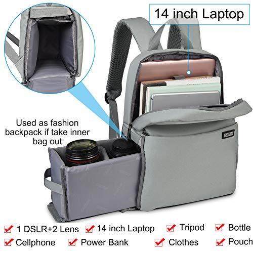 CADeN Kamerarucksack, Wasserabweisend Kameratasche Dual Use DSLR Bag Diebstahl Fotorucksack Kompatibel mit Spiegelreflexkamera Canon Nikon Sony(Hellgrau)