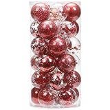 Sea Team 60mm/2.36' Adornos Variados Transparentes Bolas de Navidad,Decoraciones Ornamentales Resistente.para Colgar en el árbol de Navidad,Paquete de Regalar Portátil Set de Navidad(30pcs)