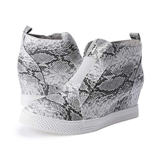 Ermonn Womens Wedge Sneakers Fashion High Top Side Zipper Platform Booties Flat Shoes (8 M US, Snakeskin)