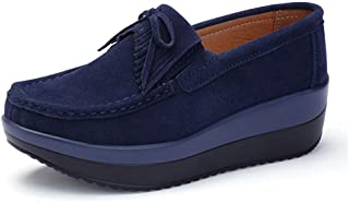 Unparalleled beauty Women Platform Wedge Shoes Comfortable Slip On Loafers Suede Moccasins Sneakers