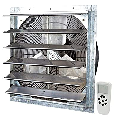 """Iliving ILG8SF24VC Wall-Mounted Shutter Exhaust Fan, 24"""" - Variable, Silver"""