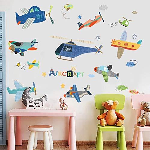 WandSticker4U®- XL Wandtattoo FLUGZEUGE Kinder I Wandbilder: 140x100 cm I Wandsticker Kinderzimmer Junge bunt Flieger Hubschrauber Aufkleber Sterne Wolken I Wand Deko für Jungenzimmer
