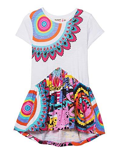 Desigual Girl Knit Dress Short Sleeve (Vest_wilminton) Vestido, Blanco (White 1000), 104 (Talla del Fabricante: 3/4) para Niñas