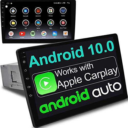 IYING 6G+128G Android 10 Single Din Adjustable Car Stereo Supports Apple CarPlay & Android Auto Car Radio Receiver AM/FM GPS Navigation Bluetooth WiFi Car Multimedia Player 10.1 Inch In-Dash Head Unit