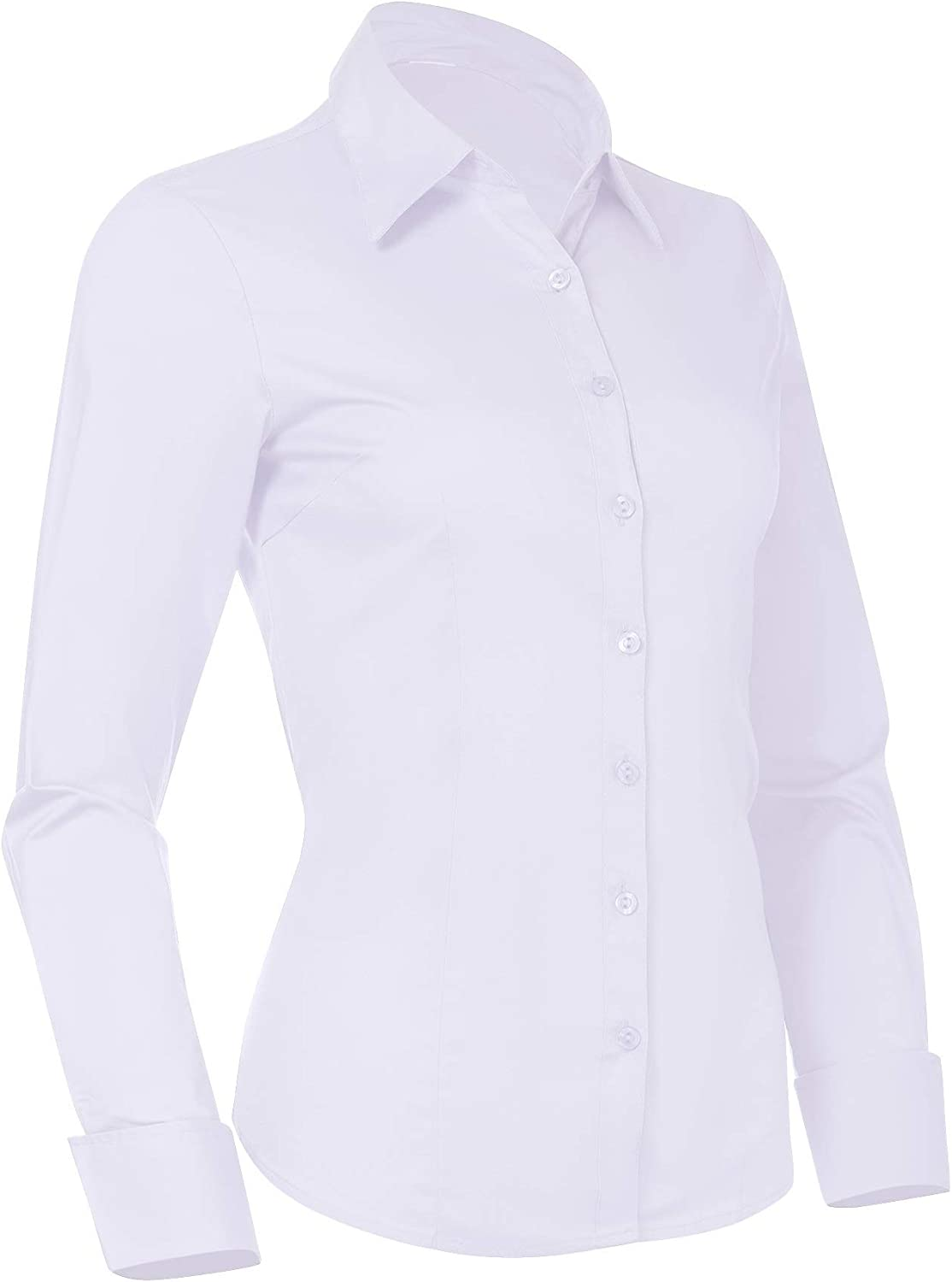 Pier 17 Button Down Shirts for Women, Fitted Long Sleeve Tailored Work Office Blouse