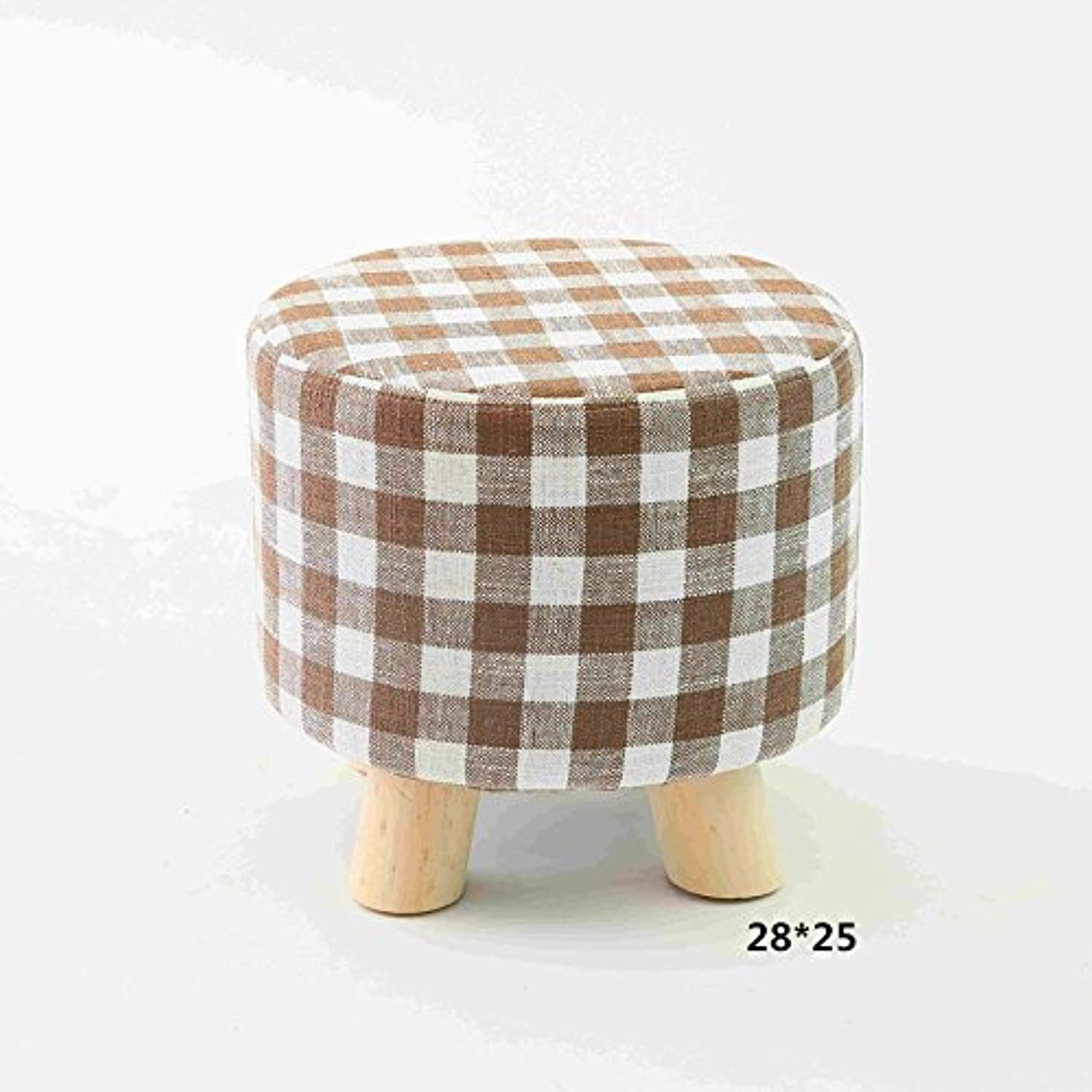Dana Carrie Stool Small stool Stylish Creative Small Benches Home stool Solid Wood Round stool Sofa, Checkered Round stool