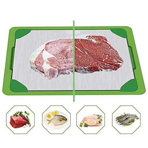 QIZRON Defrosting Tray | Fast Thawing Plate Board | Premium Cooling Tray | The Safest Way Rapid Thaw Frozen Foods | HDF High-Density Aerospace Alloy | Water Base Tray