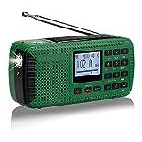 BAYUE Solar Radio Dynamo, Am FM SW Radio de manivela, Recargable, con Bluetooth, grabadora de Reproductor de MP3, para Senderismo, Camping, Nuestra Puerta, Emergencia