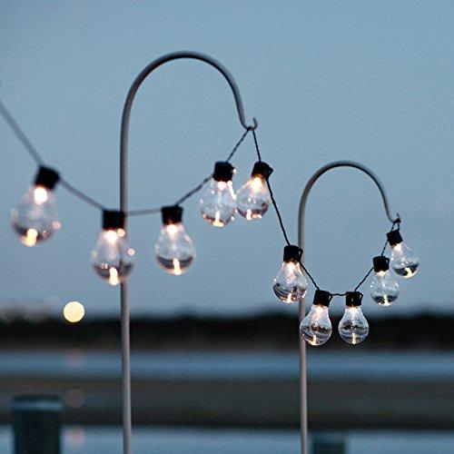 Lights4fun 10er LED Party Solar Zirkus Lichterkette klare Plexiglas Kugeln warmweiß