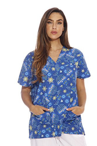 Just Love Women's Scrub Tops / Holiday Scrubs / Nursing Scrubs,Happy Hannukah,X-Small