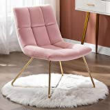 Duhome Velvet Accent Chair Retro Leisure Lounge Chair Mid Century Modern Chair Vanity Chair for Living Room Bedroom with Gold Metal Legs Salmon Pink 1 PCS