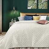 Eurofirany Weiche Tagesdecke Ariel Gesteppter Bettüberwurf Steppung Art Deco Muster Ganzjährig Samt Einfarbige Steppdecke Quilt (Creme, 220 x 240 cm)
