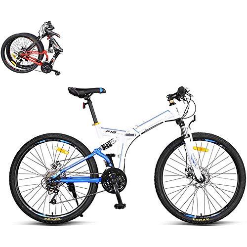 J.W. Faltbares Mountainbike, 21-Fach 26-Zoll-Stahlrahmen Dual-Scheiben-Bremse-Faltrad, 8 Sekunden Schnelles Fold-MTB-Fahrrad Für Stadt Radfahren Reisen,A