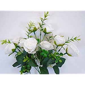 2 Bushes Small Rose Buds 10 Artificial Silk Flowers 13″ Bouquet 5036