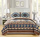 Rustic Western Southwestern Native American Tribal Navajo Design Oversized Bedspread Quilt Set in Beige Taupe Brown Blue Green Austin Taupe (Full/Queen)