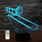 3D Optical Illusion Saxphone Trombone Night Light Toy Lamp,Remote Control,Dimmable,Battery or USB Powered,7 Colors Change Christmas Birthday Gift for Boys Girls Baby