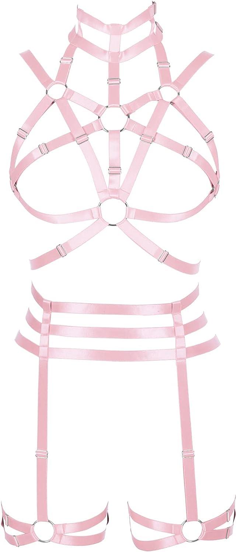 Lingerie cage Full body harness for women Garter belt set Festival Rave Halloween Plus size Chest strap Gothic Punk Bra