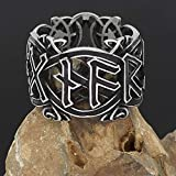 Viking Jewelry Nordic Stainless Steel Octune Na Wen Ring Men Tide Rune (Color : Black, Size : 10)