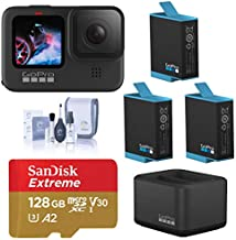 GoPro HERO9 Black, Waterproof Sport and Action Camera, 5K/4K Video, Power Bundle with Dual Charger, 3 Extra Battery, 128GB microSD Card, Cleaning Kit