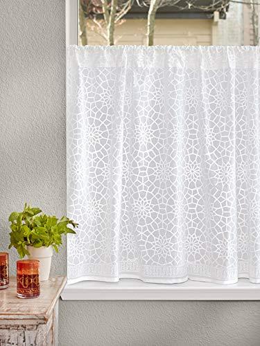Saffron Marigold Sheer White Kitchen Curtains Royal Mansour | 46 Inch Cotton Voile Similar to Lace Vintage Floral Medallion Window Valances for Bathroom, Kitchen, Bedroom 46 x 24 inches