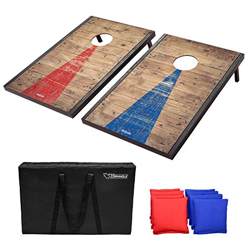 GoSports Classic Cornhole Set with Rustic Wood Finish | Includes 8 Bags, Carry Case and Rules, Steel