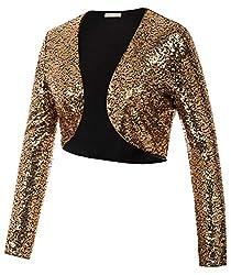 Golden-black Sequin Fabric Long Sleeve Cropped Blazer Bolero Shrug