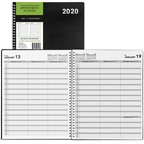2020 Delane Daily and Weekly Planner � Spiral Bound Hourly Appointment Book � Schedule Your School or Business Calendar � Annual Organizer Agenda with Premium Paper, 8.5 x 11�, Black