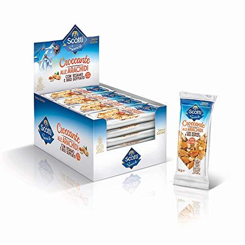 Riso Scotti Snack - Croccante alle Arachidi con Sesamo e Riso Soffiato - Snack Senza Glutine - 24 Pezzi
